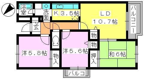 プレミール須恵 / 201号室間取り