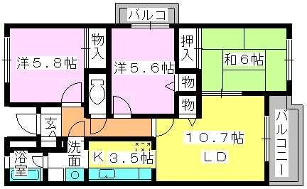 プレミール須恵 / 305号室間取り