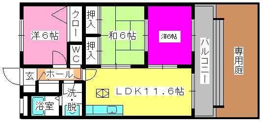 博多の森南 / 102号室間取り
