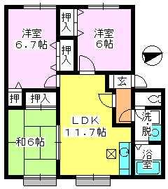 ティアラ 安川 / 103号室間取り