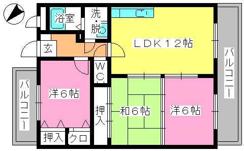 エントピア空港東(ペット可) / 302号室間取り