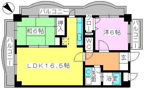 サンヒルズTAKEDAⅡ / 402号室間取り
