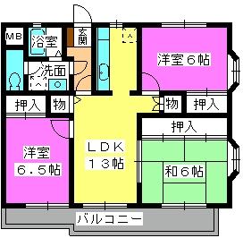 サンヒルズ竹田 / 201号室間取り