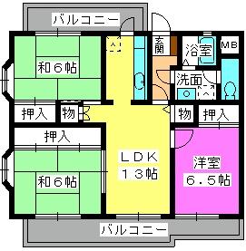 サンヒルズ竹田 / 202号室間取り