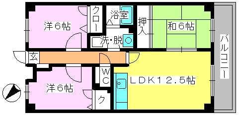 リバーサイド篠栗 / 402号室間取り