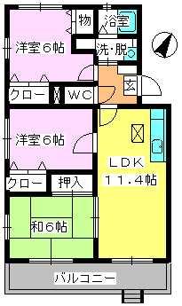 エスポアール岡本 / 101号室間取り
