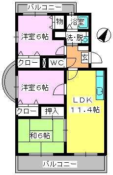 エスポアール岡本 / 201号室間取り
