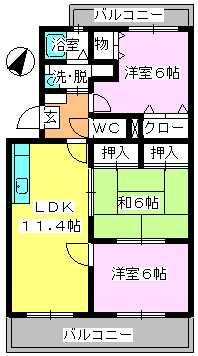 エスポアール岡本 / 305号室間取り