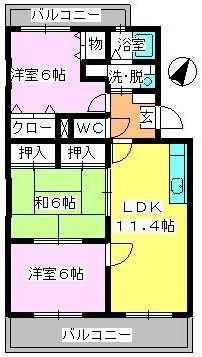 エスポアール岡本 / 406号室間取り
