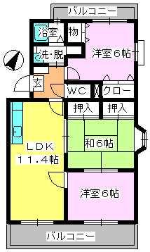 エスポアール岡本 / 407号室間取り