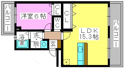 リヴェール伊賀 / 402号室間取り