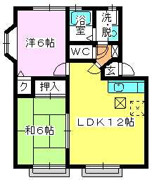 メロディハイツ戸原 / A-105号室間取り