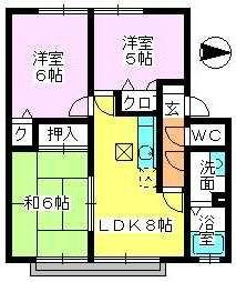 メロディハイツ戸原 / B-102号室間取り