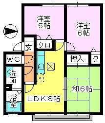 メロディハイツ戸原 / B-103号室間取り