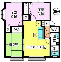 メロディハイツ戸原 / B-105号室間取り