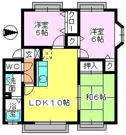 メロディハイツ戸原 / B-201号室間取り