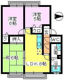 メロディハイツ戸原 / B-202号室間取り
