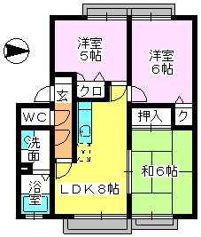 メロディハイツ戸原 / B-203号室間取り