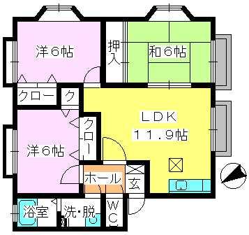 メロディハイツK&K / 103号室間取り