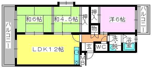 エステート篠栗 / 201号室間取り