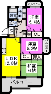 リヴェール伊賀Ⅱ / 101号室間取り