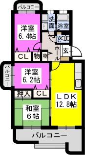 リヴェール伊賀Ⅱ / 105号室間取り