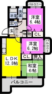 リヴェール伊賀Ⅱ / 401号室間取り