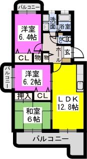 リヴェール伊賀Ⅱ / 405号室間取り