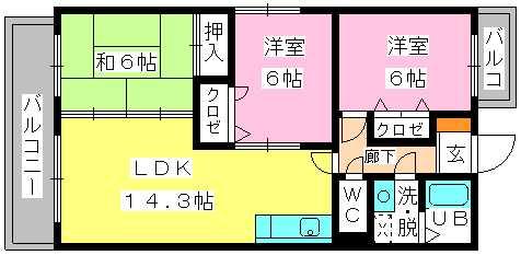 アイビーハイツⅡ / 201号室間取り
