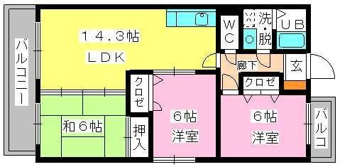 アイビーハイツⅡ / 305号室間取り