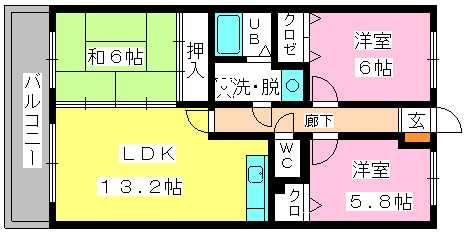 アイビーハイツⅡ / 402号室間取り