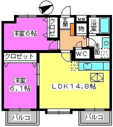 カンフォーロ藤木 / 103号室間取り