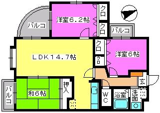 カンフォーロ藤木 / 202号室間取り