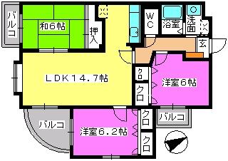 カンフォーロ藤木 / 301号室間取り
