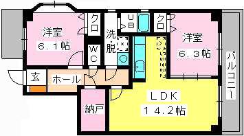 メゾン・ド・ソレイユ / 601号室間取り
