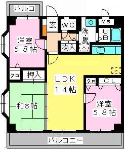 メゾン・ド・ソレイユ / 605号室間取り