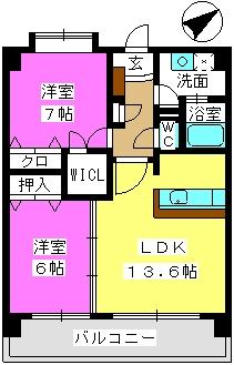 シャルム空港南 / 502号室間取り