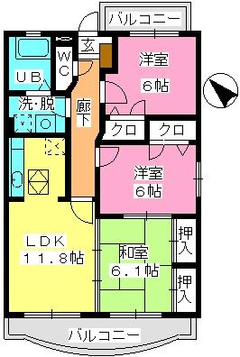 ルミエール21 / 105号室間取り