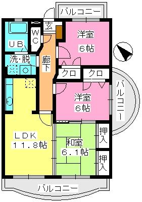 ルミエール21 / 305号室間取り