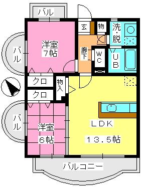 ルミエール21 / 401号室間取り