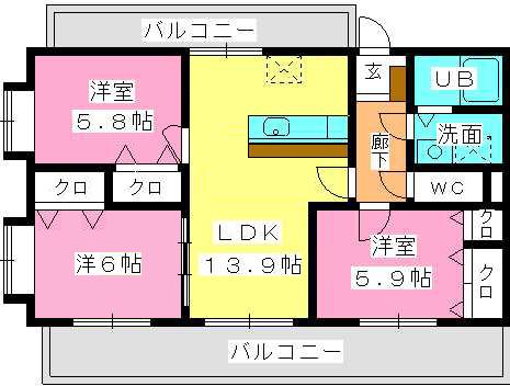 シングレート・ヒルズ / 203号室間取り