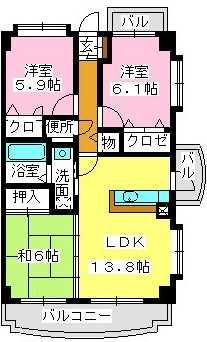チュリス空港東 / 205号室間取り