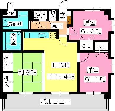 ネオパレス長者原Ⅱ / 201号室間取り