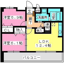 ネオパレス長者原Ⅱ / 305号室間取り