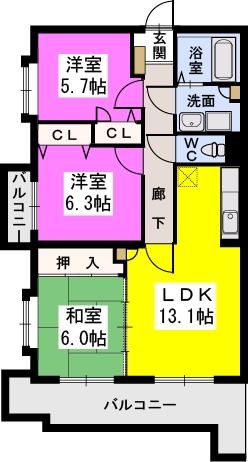 リヴェール高田 / 201号室間取り