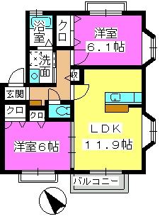 エアルポース平成(A棟ペット可) / A-202号室間取り