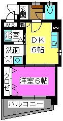 メルベーユ博多 / 205号室間取り
