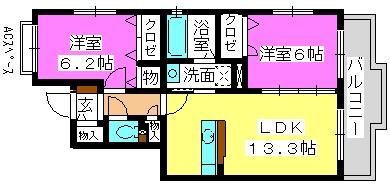 パークコート博多の森 / 2-202号室間取り