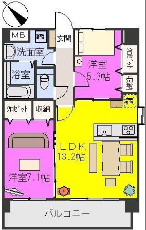 サン・ビオ空港通りⅡ(ペット可) / 401号室間取り