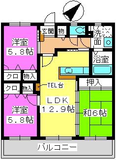プロムナード・セリーヌ参番館 / 201号室間取り